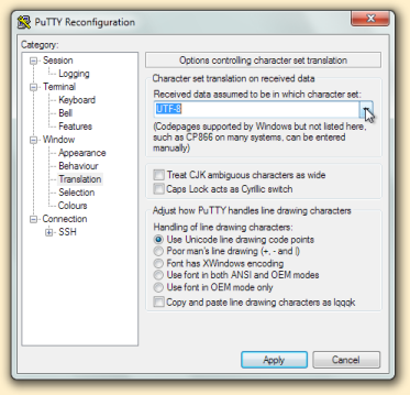 PuTTY configuration dialogue box