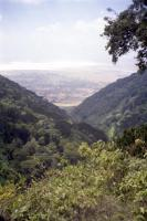 Looking down a valley towards the crater