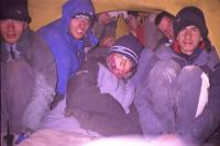 Squeezing 10 people into a 3 man tent!