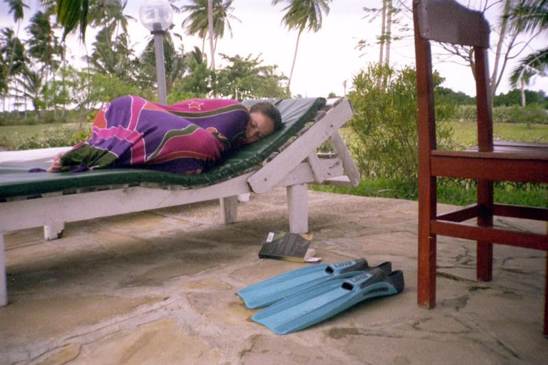 Jenna sleeping by the pool
