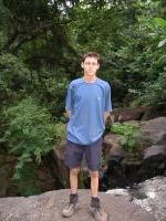 Geoff in frount of the waterfall (near the school)