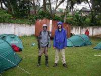 Skinny and not so skinny, at the Kibo campsite in the rain