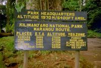 A sign at marangu gate